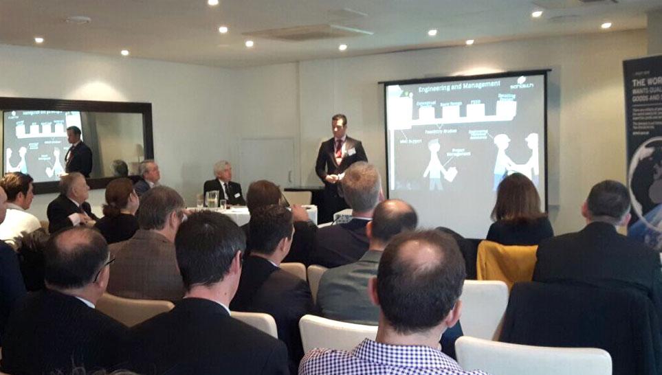 O sócio diretor da Sandech, Antonio Marques, durante apresentação da empresa
