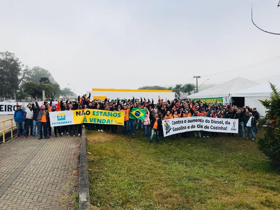 Protesto dos petroleiros na Refinaria Presidente Getúlio Vargas (Repar)