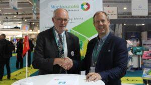 O vice-presidente da Normandie Energies, Serge Bouffard, e o presidente da Nuclear South West, Matt Burle