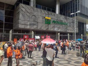 Manifestação de petroleiros realizada nesta semana em frente à sede da Petrobrás
