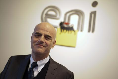 FILE - In this Tuesday, Jan. 20, 2015 file photo, Italian energy giant Eni CEO Claudio Descalzi poses for a photo prior to the start of a conference, in Rome.   (ANSA/AP Photo/Andrew Medichini, File)